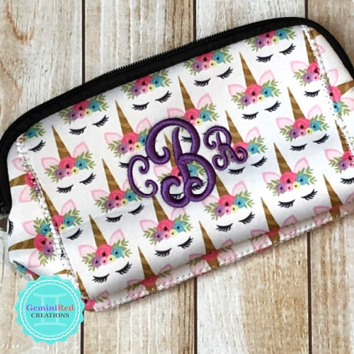 Unicorn Neoprene Cosmetic Bag {monogrammed}