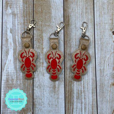 Lobster Embroidered Vinyl Key Fob