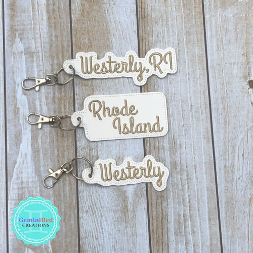 Rhode Island Vinyl Embroidered Key Fob