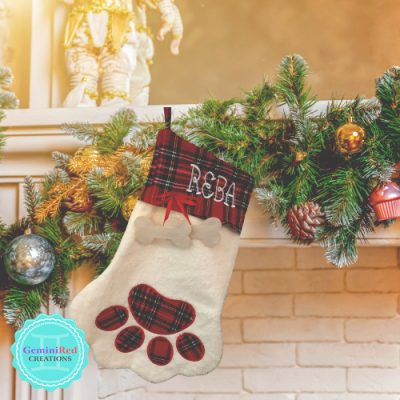 Dog Paw Monogrammed Christmas Stocking
