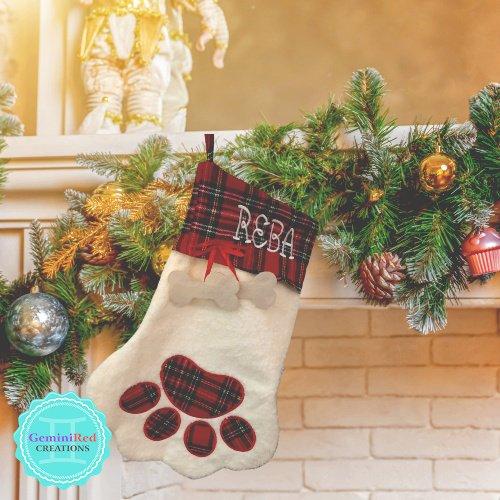 Dog Paw Monogrammed Christmas Stocking
