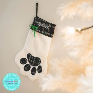 Cat Paw Monogrammed Christmas Stocking