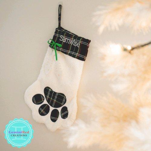 Cat Paw Monogrammed Christmas Stocking