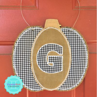 Burlap Embroidered Pumpkin Door Hanger