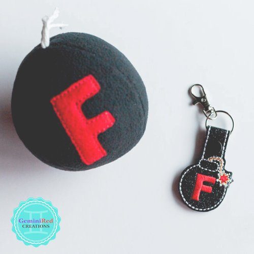 F Bomb Embroidered Vinyl Key Fob