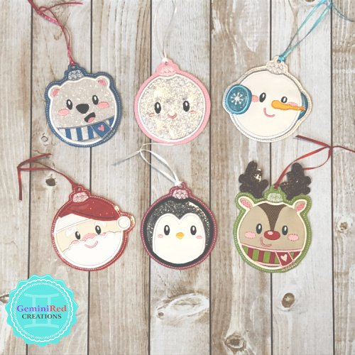 Cozy Christmas Embroidered Ornaments