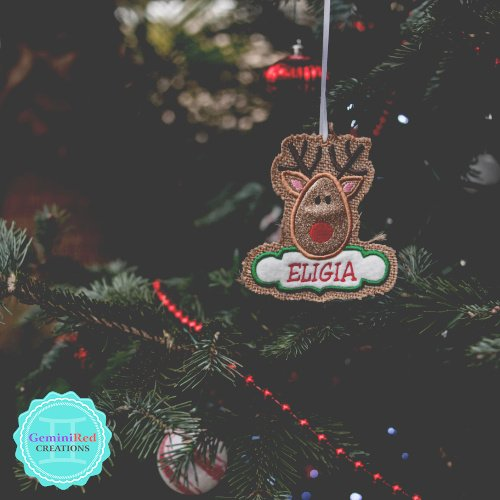 Reindeer Personalized Embroidered Ornament