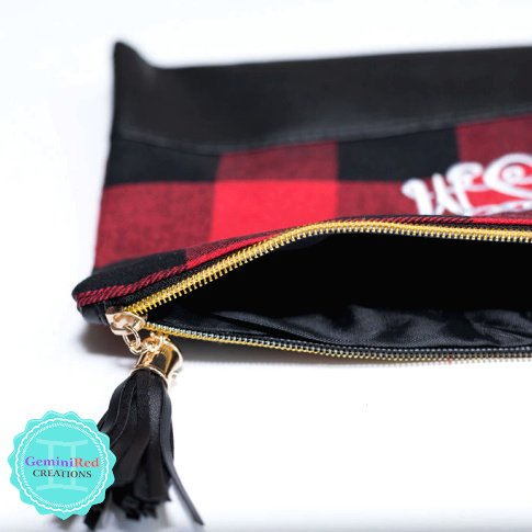 Buffalo Plaid Zipper Pouch Makeup Bag