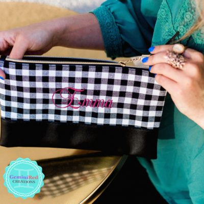 Buffalo Plaid Zipper Pouch Makeup Bag