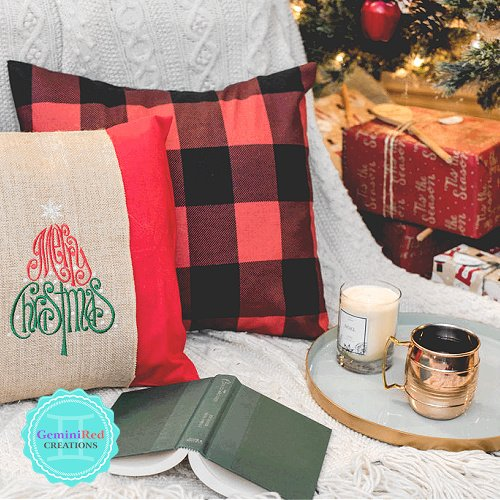 Merry Christmas Embroidered Burlap Pillow Wrap