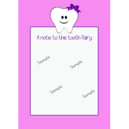 Tooth Fairy Note Cards - Bow