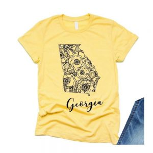 Georgia State Outline Floral T-shirt