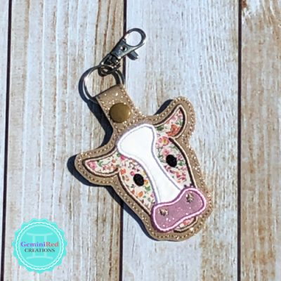 Cow Applique Embroidered Vinyl Key Fob
