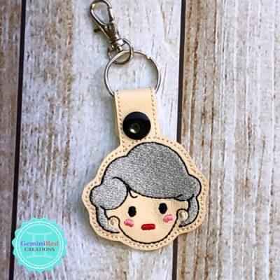 Golden Girls Rose Embroidered Key Fob