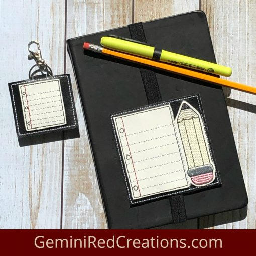 Notebook Paper Pocket Embroidered Key Fob