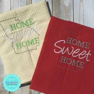 Home Sweet Home Hanging Embroidered Kitchen Towel