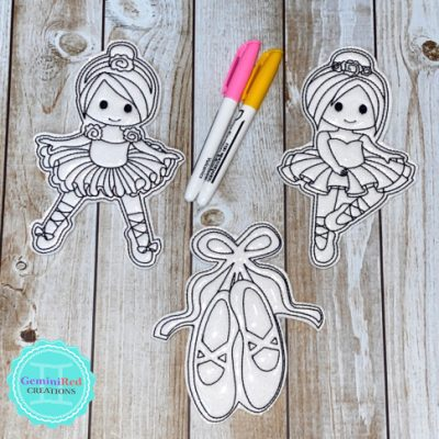 Coloring Flat Doodle Dolls - Ballet