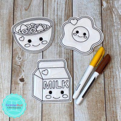 Coloring Flat Doodle Dolls - Breakfast