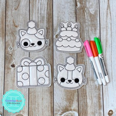 Coloring Flat Doodle Dolls - Cat Party