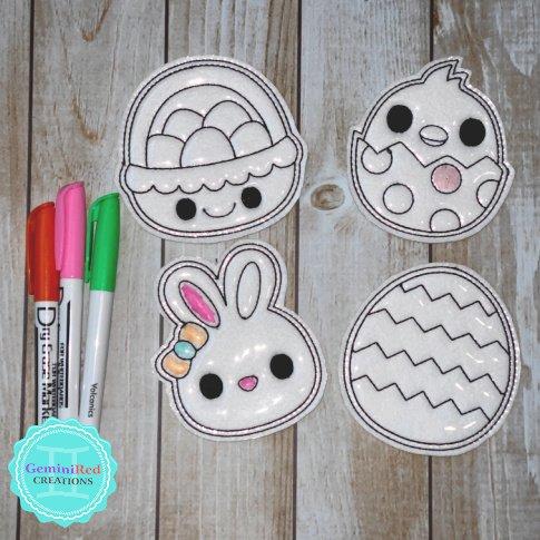 Coloring Flat Doodle Dolls - Easter Egg Hunt
