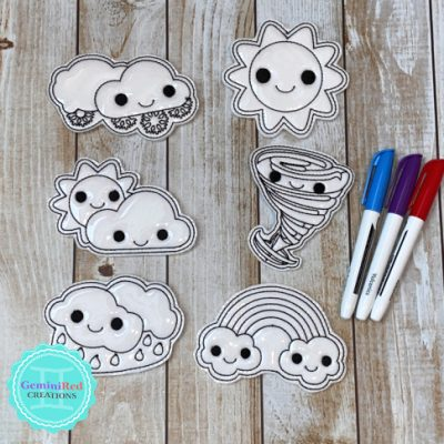 Coloring Flat Doodle Dolls - Weather