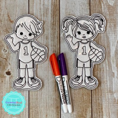 Coloring Flat Doodle Dolls - Basketball