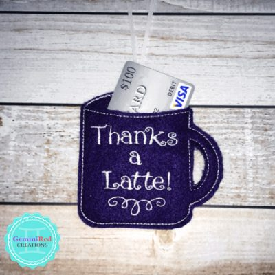 Coffee Mug Thanks a Latte Gift Card Holder
