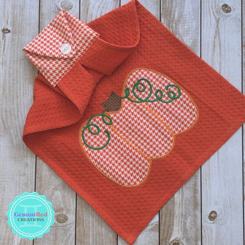 Embroidered Hanging Kitchen Towel {Appliqué Pumpkin}