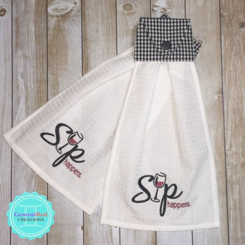 Embroidered Hanging Kitchen Towel {Sip Happens}