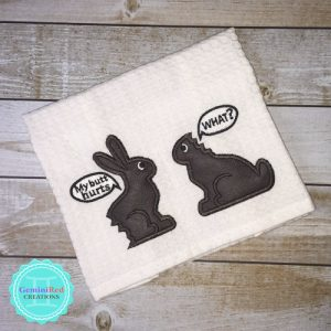 Embroidered Kitchen Towel {Chocolate Bunnies}