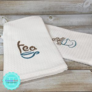 Embroidered Kitchen Towel {Coffee}