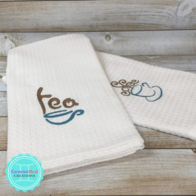 Embroidered Kitchen Towel Coffee Tea