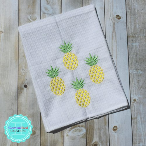 Pineapple Embroidered Kitchen Towels {Diamonds}