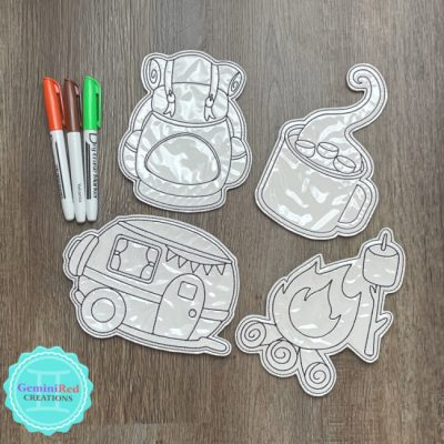 Coloring Flat Doodle Dolls - Camping