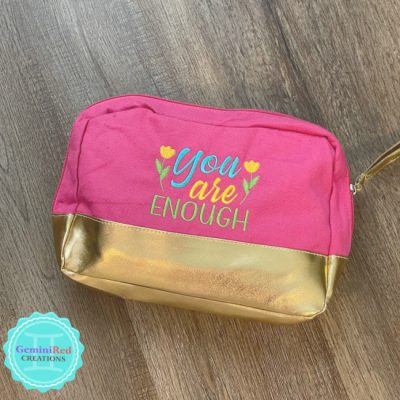 You Are Enough Pink & Gold Zipper Pouch