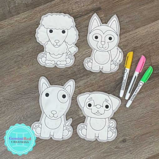 Coloring Flat Doodle Dolls - Dogs {Set 1}