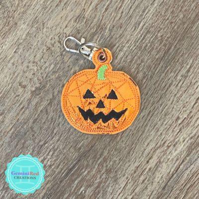 Geometric Pumpkin Embroidered Key Fob